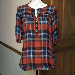 ANGIE Edmbellished Red & Blue Plaid Top - Size S